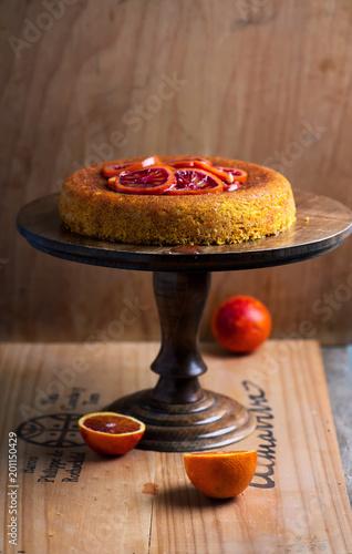 Sticker Blood Orange  Polenta Cake.selective focus