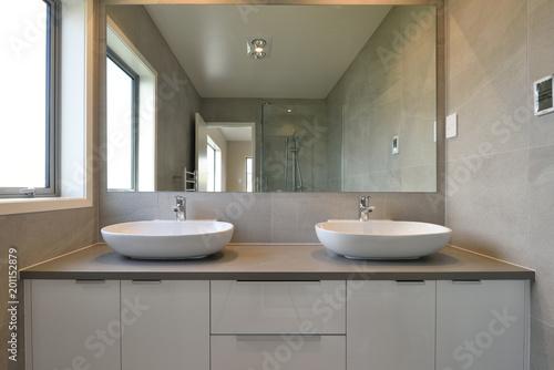 Two basins in a modern bathroom
