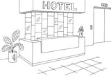 Hotel reception lobby interior graphic black white sketch illustration vector - 201153667
