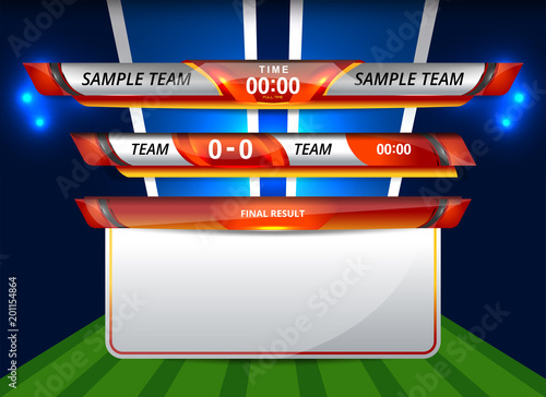 vector illustration graphic of scoreboard broadcast and lower thirds
