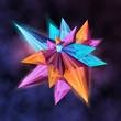 Vector illustration, trendy background with abstract dimensional shape with facets. - 201155271