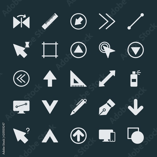 Modern Simple Set of arrows, cursors, design Vector fill Icons. ..Contains such Icons as black, technology, direction, background, line and more on dark background. Fully Editable. Pixel Perfect.