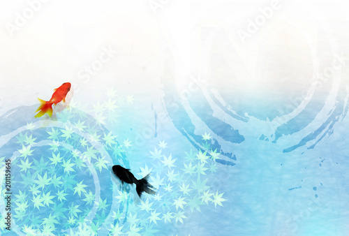 金魚 もみじ 暑中見舞い 背景