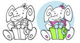 birthday elephant and gift