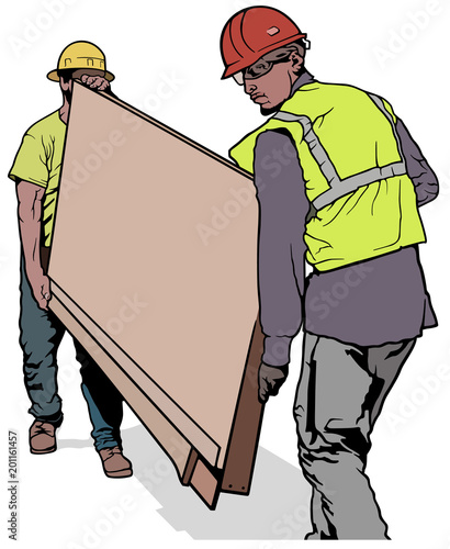 Two Building Workers Carrying Wooden Board - Colored Illustration, Vector