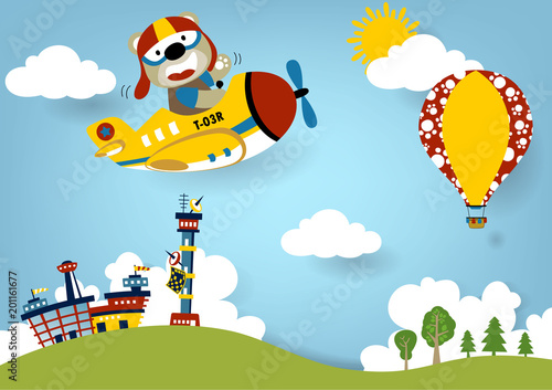 Fototapeta Summer vacation with plane and air balloon, vector cartoon illustration