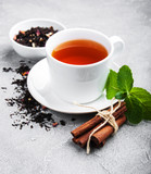 Cup of tea with mint and cinnamon - 201163663