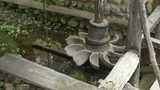 Wood water mill large propeller with water cups and shaft. - 201165836