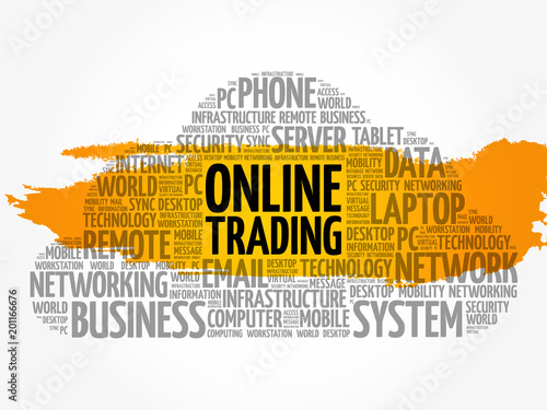 Online Trading word cloud collage, internet concept background