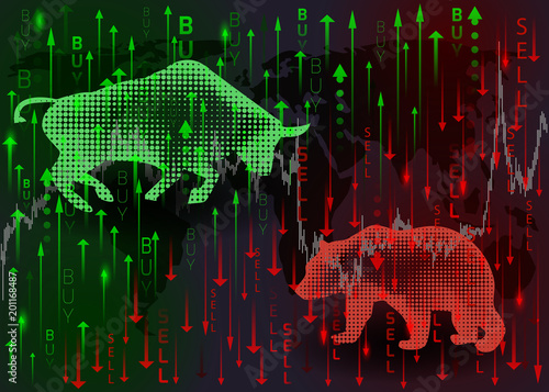 Green bull and red bear.