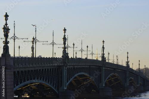 Fotobehang Bruggen Panorama of the St. Petersburg Trinity Bridge