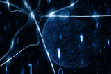 Artistic blue colored neurons in the brain with digital cyberspace network illustration background. - 201171209