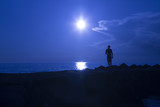 Silhouette of a man walks on stony beach with blue colored sunset. - 201171245