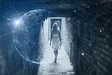 Woman walks in the city with futuristic cyberspace background - 201171439