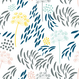 Vector organic floral seamless abstract background, botanical motif, freehand doodles pattern. - 201171839