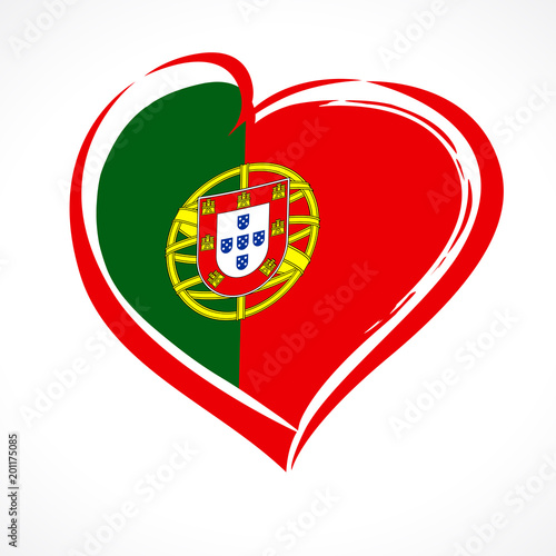 Love Portugal, heart emblem in national flag colored. Flag of Portugal with heart shape for Portugal Independence Day isolated on white background. Vector illustration