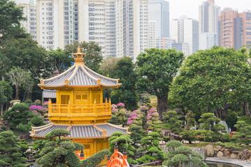golden pavilion inside Nan Lian Garden, Hongkong