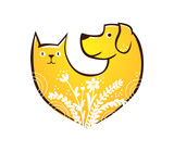 Cat and Dog Animal Care Heart logo with flowers - 201180489