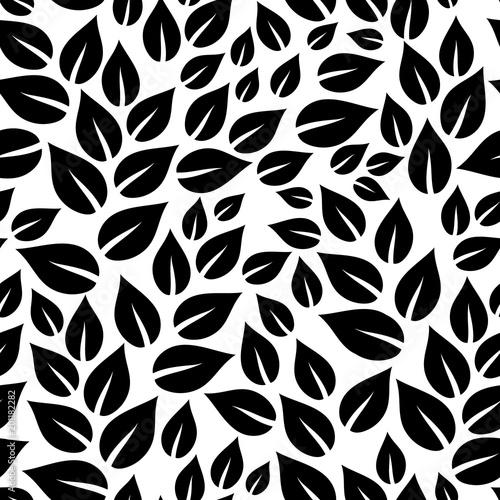 Czarny i biały prosty liści bezszwowy wzór, wektor
