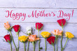 Happy Mothers Day Card  -  Rose flowers on wood