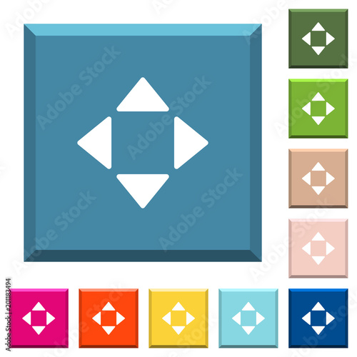 Control arrows white icons on edged square buttons
