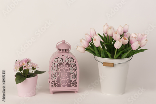 Foto Murales Farol rosa, tulipanes rosas y maceta.