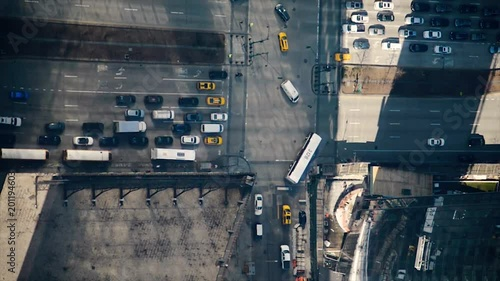 New York bird's eye view, streets with yellow cab, intersection