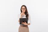 Portrait of a pensive asian businesswoman - 201196022
