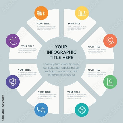 Circle chart business, money infographic template with 8 options for presentations, advertising, annual reports