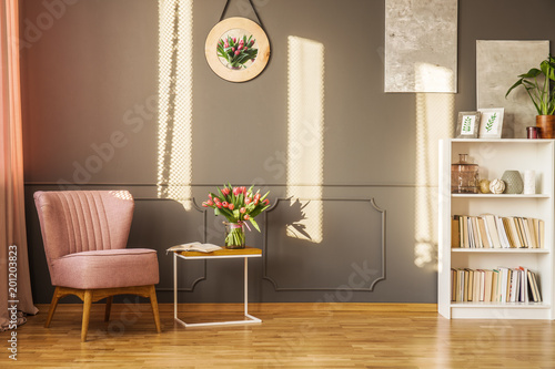 Pink armchair in living room