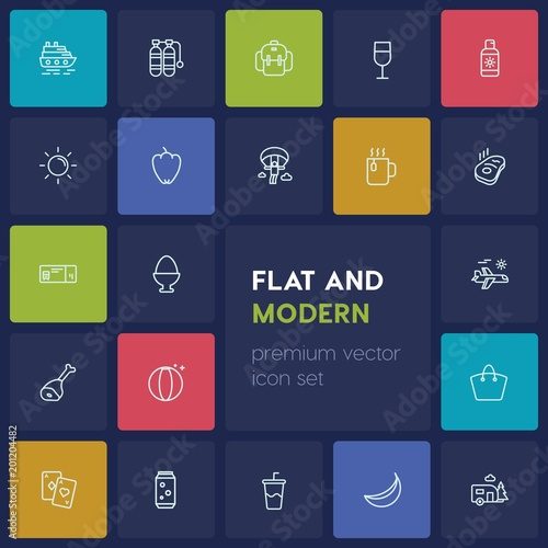 Modern Simple Set of food, drinks, travel Vector outline Icons. ..Contains such Icons as knapsack, food, ball, cruise, beverage, bag and more on dark background. Fully Editable. Pixel Perfect