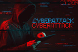 Cyberattack  concept with faceless hooded male person