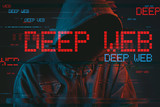 Deep web hacking concept with faceless hooded male person