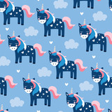 seamless blue unicorn pattern vector illustration