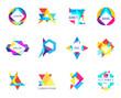 trendy logos geometric opacity shapes vector set - 201215600