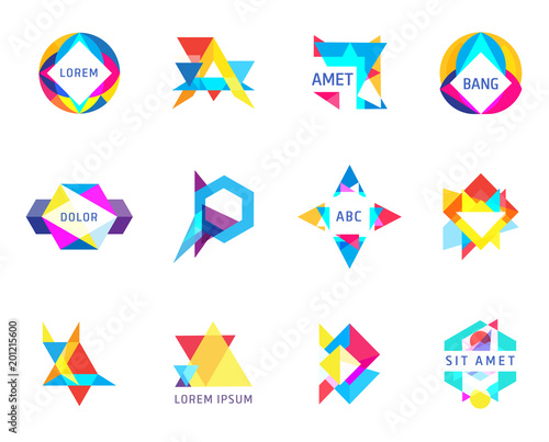 trendy logos geometric opacity shapes vector set - 201215600