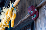 Corns and its traditional guardian mask in Japanese country side
