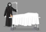 Grim Reaper at Deathbed Vector Cartoon Illustration - 201217649