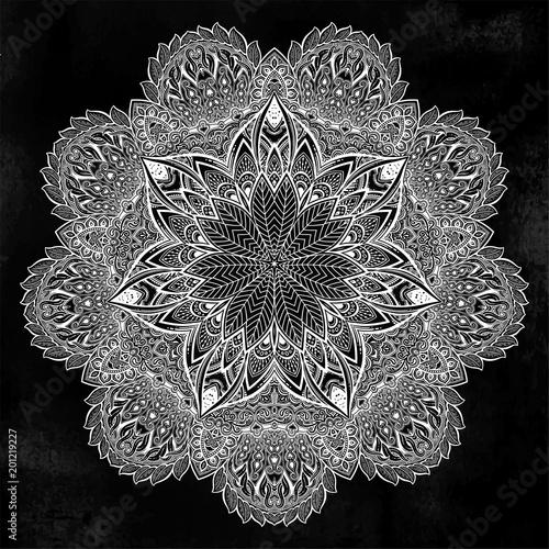 Vintage bohemian linear floral ornament mandala