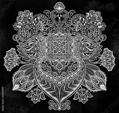 Vintage Baroque floral ornament leaf like flower.