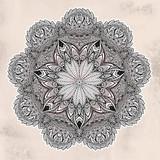 Vintage bohemian linear floral ornament mandala - 201219860