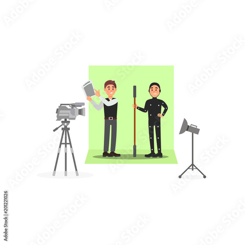 Screenwriter and actor working on the film, entertainment industry, movie making vector Illustration on a white background