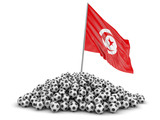 Pile of Soccer footballs and Tunisian flag. Image with clipping path - 201226439