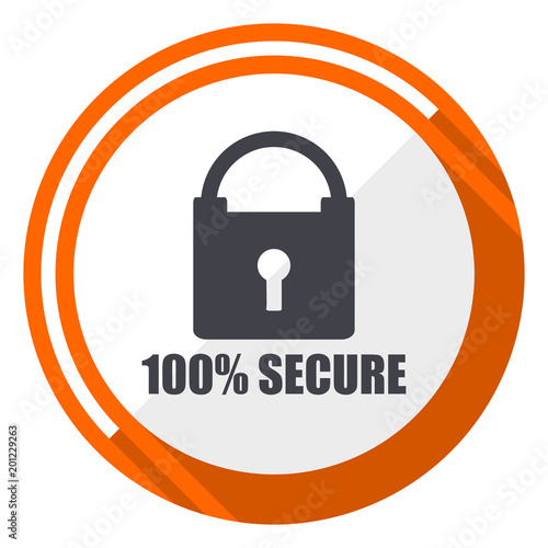 Secure flat design orange round vector icon in eps 10