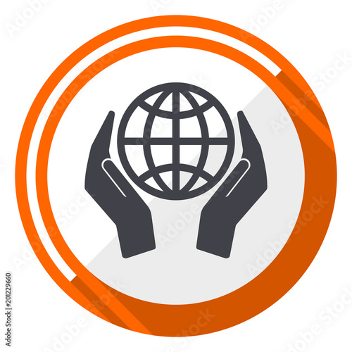Hand protect the earth flat design orange round vector icon in eps 10 - 201229660