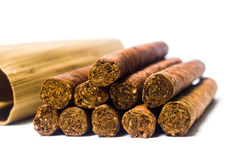 Cuban cigars isolated on white