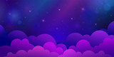 Night stars sky with clouds. Dark blue and violet horizontal illustration background