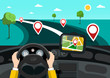 Road Map with Hands on Steering Wheel and Pins on the Road. Vector GPS Navigation Symbol.