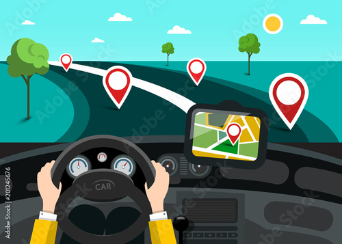 Fridge magnet Road Map with Hands on Steering Wheel and Pins on the Road. Vector GPS Navigation Symbol.