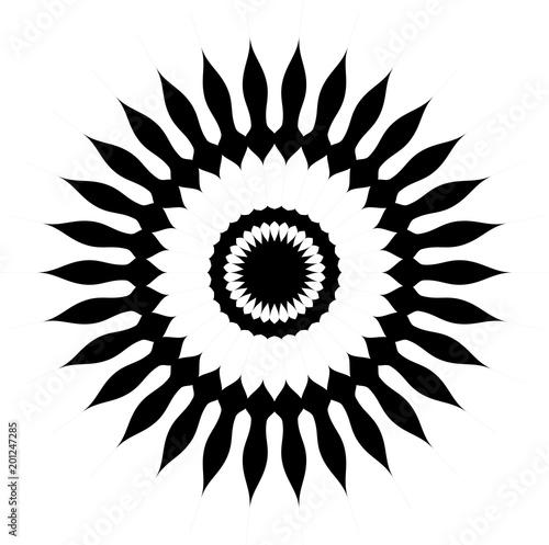 Vector flor de girasol en color negro y espacio libre en blanco. - 201247285